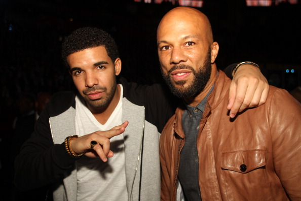 HOUSTON, TX - FEBRUARY 17: Drake and Common pose during the 2013 NBA All-Star Game during All Star Weekend on February 17, 2013 at the Toyota Center in Houston, Texas. NOTE TO USER: User expressly acknowledges and agrees that, by downloading and or using this photograph, User is consenting to the terms and conditions of the Getty Images License Agreement. Mandatory Copyright Notice: Copyright 2013 NBAE. (Photo by Ray Amati/NBAE via Getty Images)